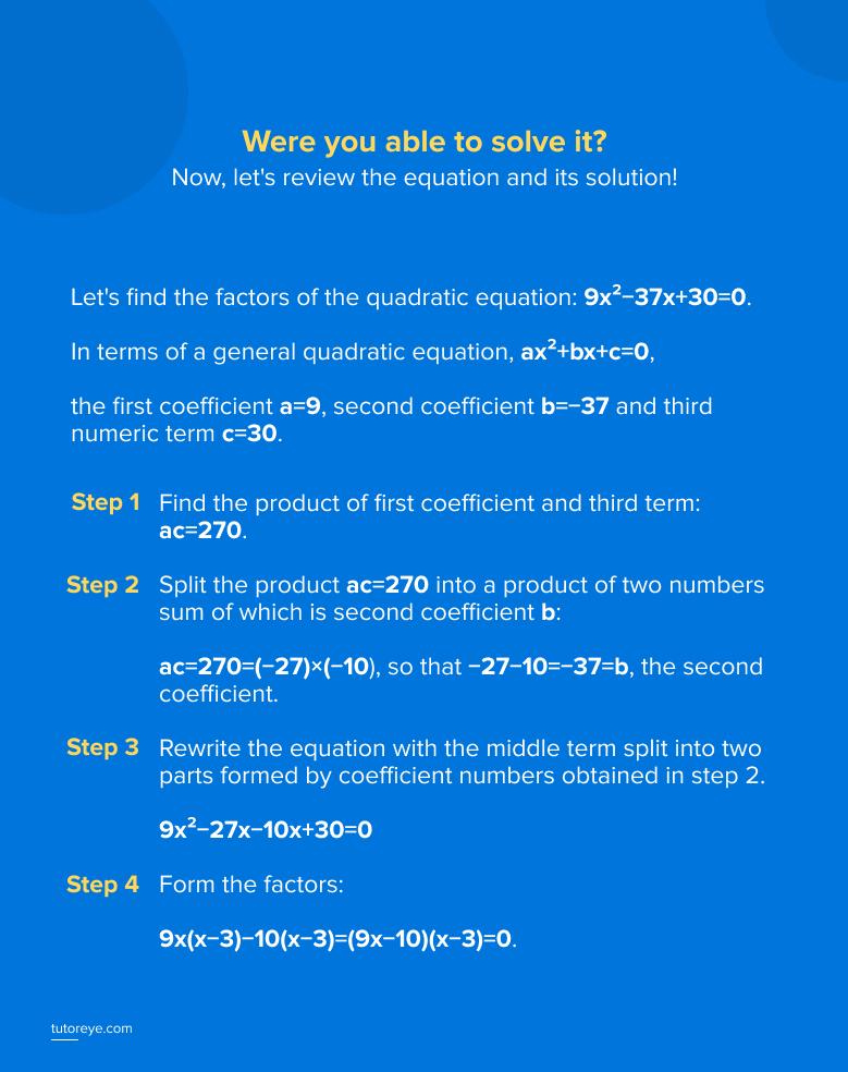 Factors of Quadratic Equation
